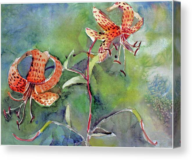 Tiger Lilies Canvas Print featuring the painting Tiger Lilies by Mindy Newman
