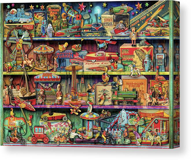 Aimee Stewart Canvas Print featuring the digital art Toy Wonderama by MGL Meiklejohn Graphics Licensing