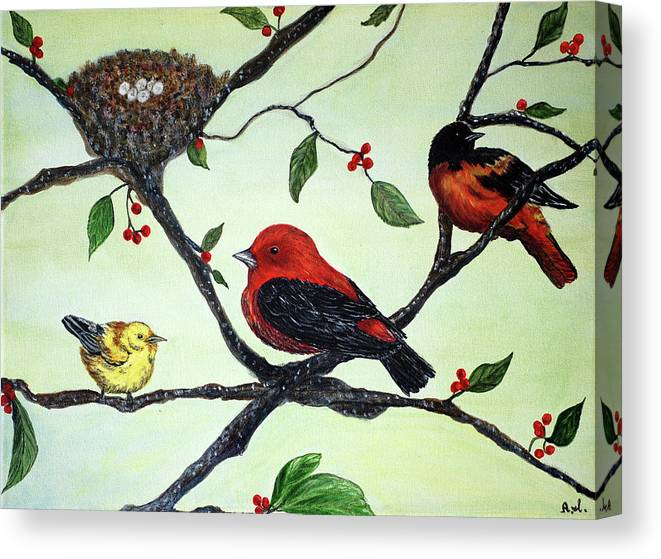 Birds Canvas Print featuring the painting Tranquility by Ann Ingham