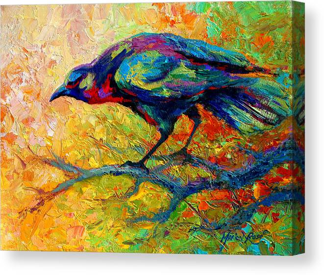 Crows Canvas Print featuring the painting Tree Talk - Crow by Marion Rose