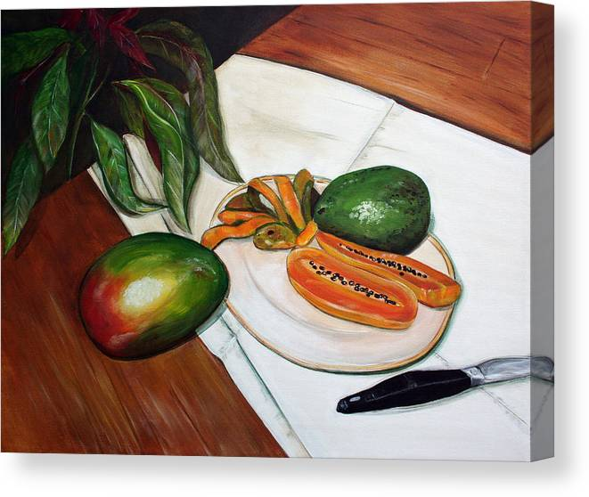 Still Life Canvas Print featuring the painting Tropical Fruit by Dorothy Riley