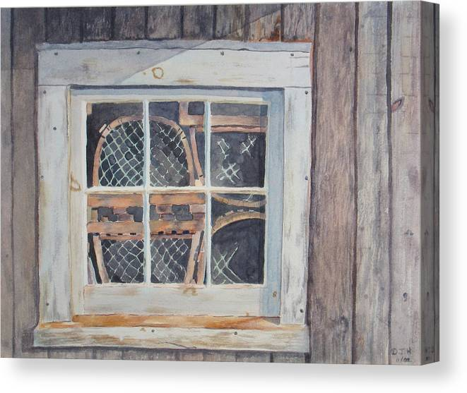 Lobster Traps Canvas Print featuring the painting Tucked Away by Debbie Homewood