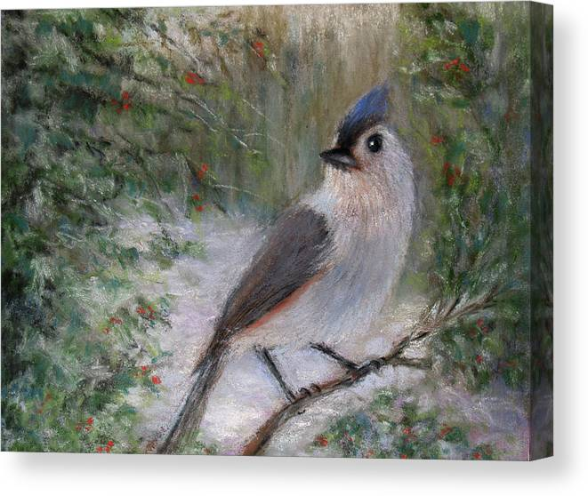 Paintings Canvas Print featuring the pastel Winter Bird by Susan Jenkins