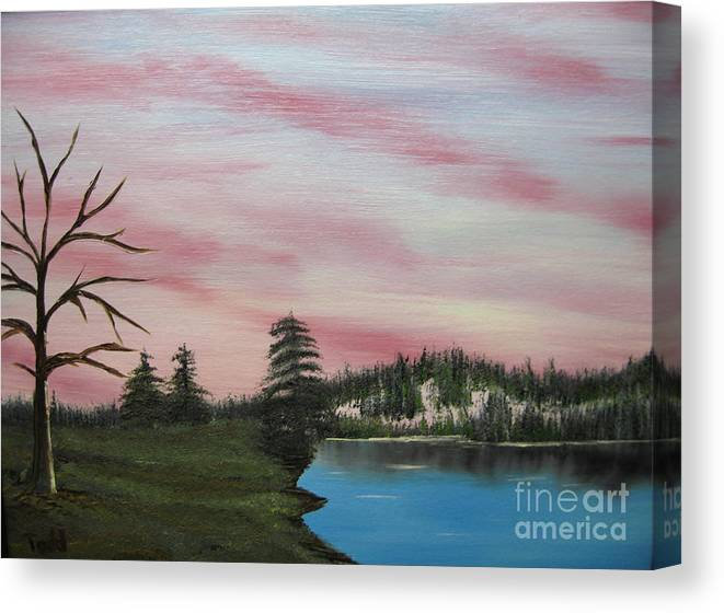 Landscape Canvas Print featuring the painting Winter Evening by Todd Androy