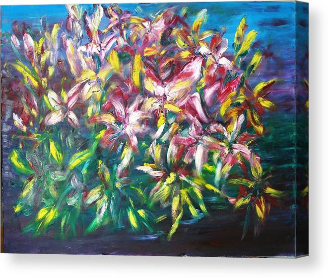 Flowers Canvas Print featuring the painting Women Gathering At A Leisurely Afternoon by Wendy Chua