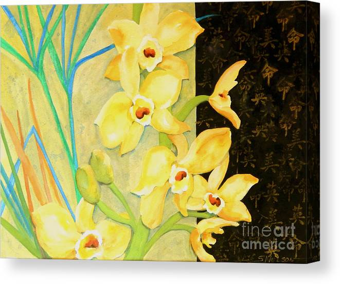 Contemporary Art Canvas Print featuring the painting Yellow Orchids With Black Screen by Sharon Nelson-Bianco