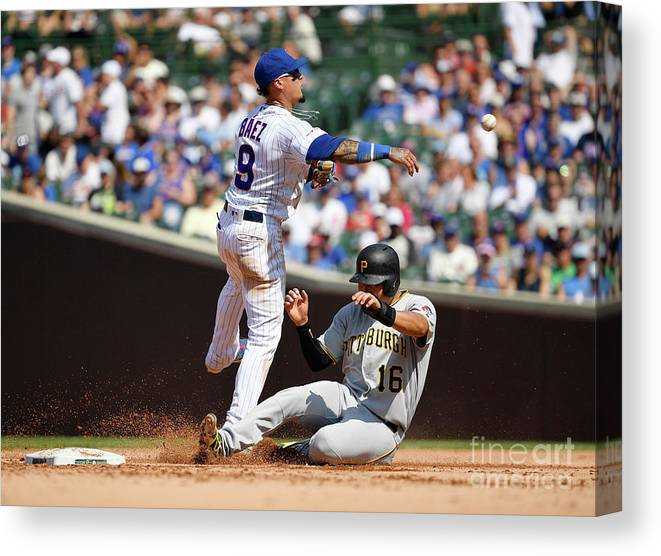 People Canvas Print featuring the photograph Pittsburgh Pirates V Chicago Cubs 1 by Quinn Harris