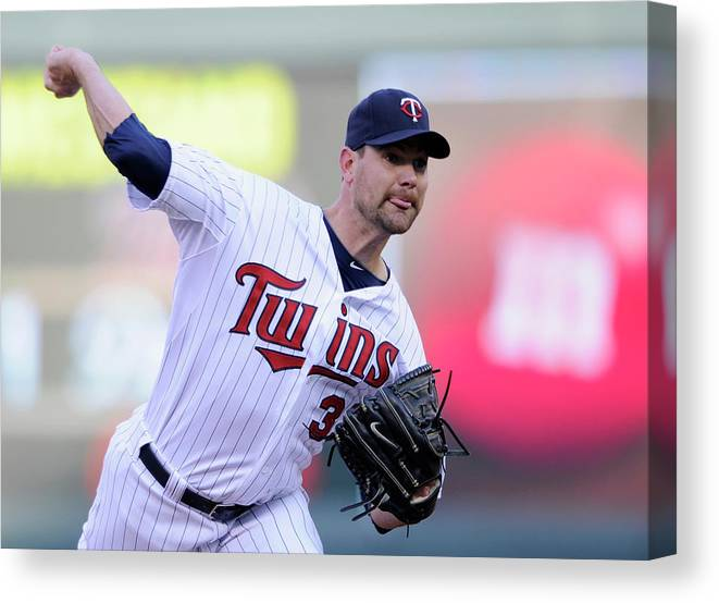Game Two Canvas Print featuring the photograph Toronto Blue Jays V Minnesota Twins - 10 by Hannah Foslien