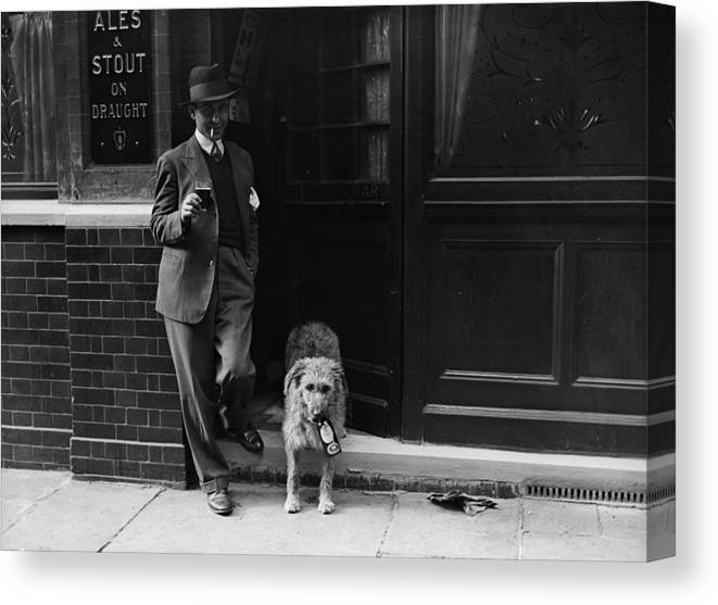 Pets Canvas Print featuring the photograph Beer Loving Dog by Fox Photos