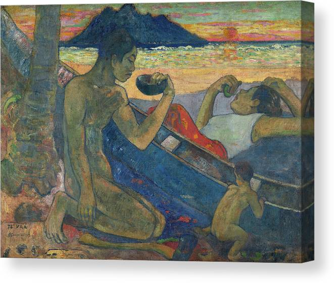 Paul Gauguin Canvas Print featuring the painting Canoe, Tahitian Family, 1896 by Paul Gauguin