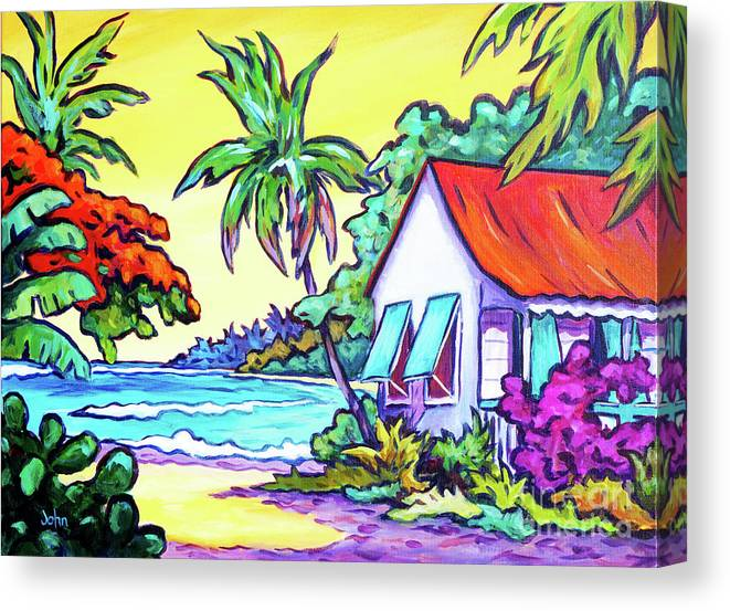 Art Canvas Print featuring the painting Cayman Cottage On The Bay by John Clark