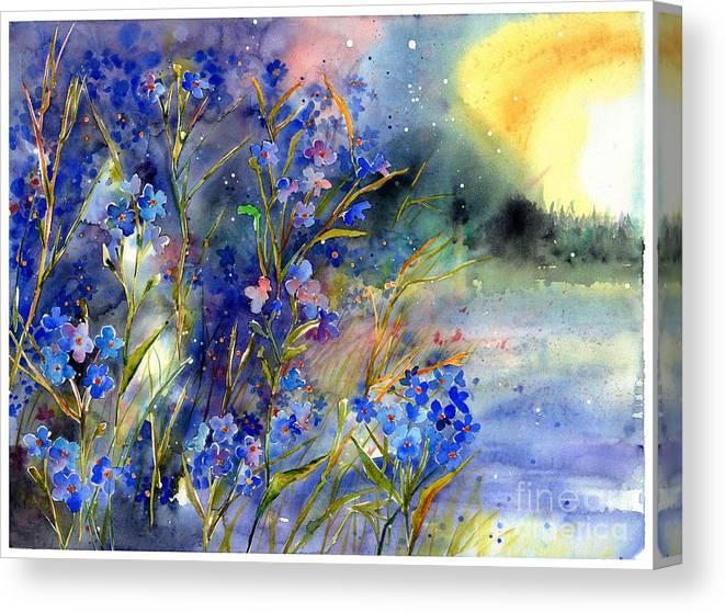 Cosmic Canvas Print featuring the painting Forget-me-not Watercolor by Suzann Sines