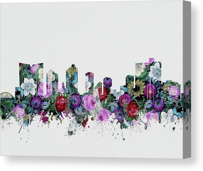 Fort Worth Canvas Print featuring the digital art Fort Worth Skyline Floral 2 by Bekim M