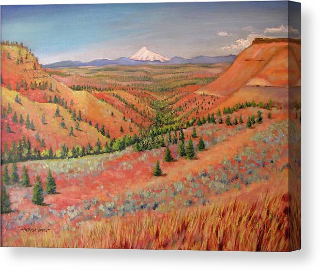 Oil Painting Canvas Print featuring the painting High Desert View - Mt. Hood by Patricia Young