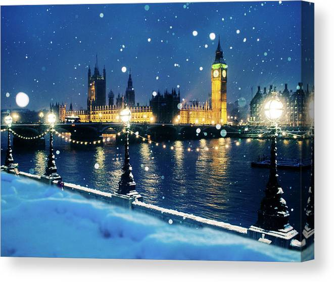 Clock Tower Canvas Print featuring the photograph Houses Of Parliament In Snow In London by Doug Armand