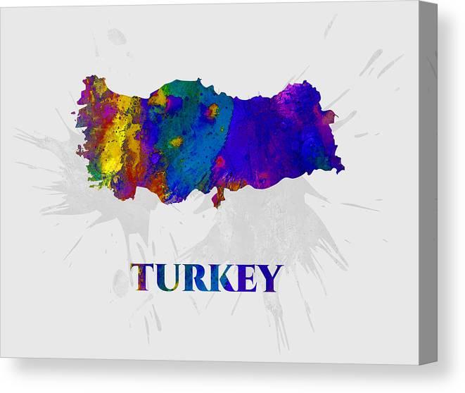 Turkey Canvas Print featuring the mixed media Turkey, Map, Artist Singh by Artist Singh MAPS