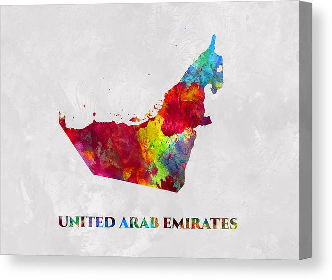 United Arab Emirates Canvas Print featuring the mixed media United Arab Emirates, Map, Artist Singh by Artist Singh MAPS