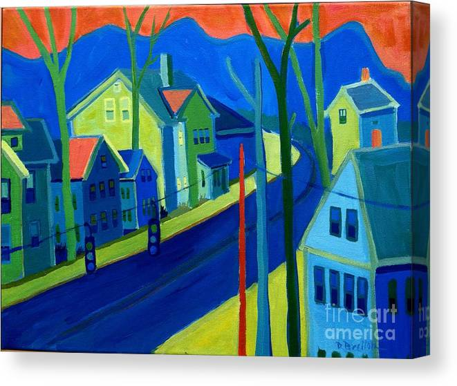 Cityscape Canvas Print featuring the painting Lowell Deluge by Debra Bretton Robinson