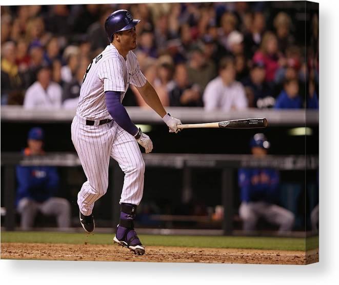 National League Baseball Canvas Print featuring the photograph Nolan Arenado by Doug Pensinger