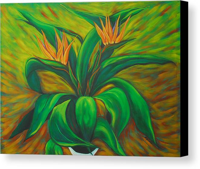 Contemporary Abstract Canvas Print featuring the painting Bird Of Paradise by Marta Giraldo