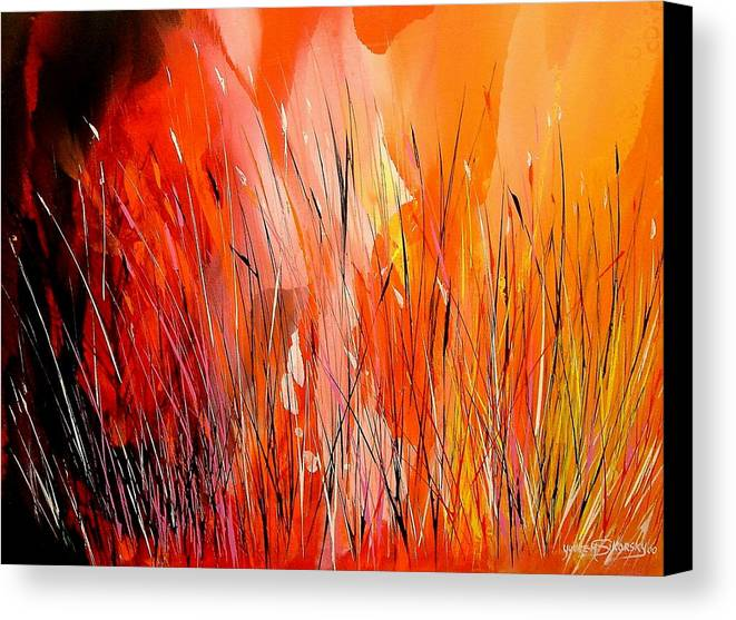 Abstract Canvas Print featuring the painting Blaze by Yvette Sikorsky
