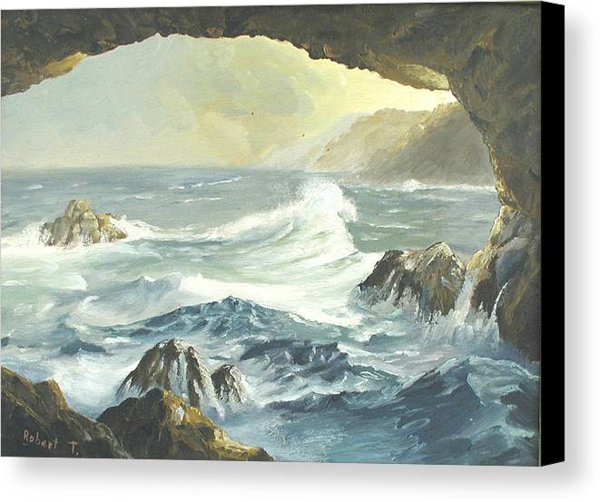 Coast Canvas Print featuring the painting Costal Cave by Robert Thomaston