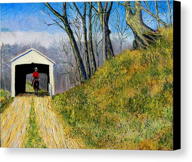 Cowboy Canvas Print featuring the painting Covered Bridge And Cowboy by Stan Hamilton