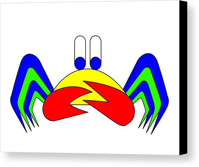 Crab-mac-claw Canvas Print featuring the digital art Crab-mac-claw The Crab by Asbjorn Lonvig