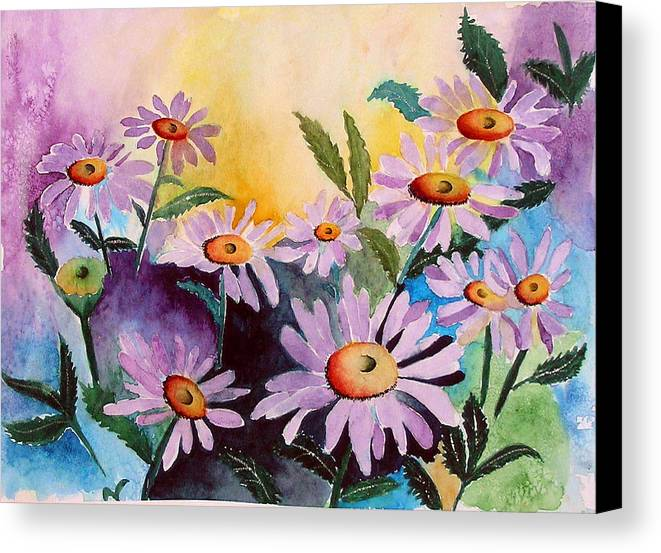 Daisies Canvas Print featuring the painting Daisies by Mary Gaines