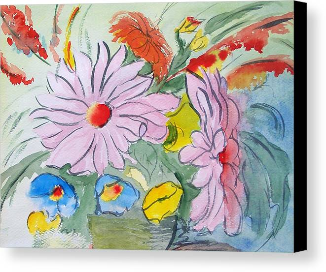 Floral Canvas Print featuring the painting Fun Flowers by Robert Thomaston