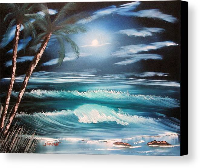 Seascape Canvas Print featuring the painting Midnight Ocean by Sheldon Morgan