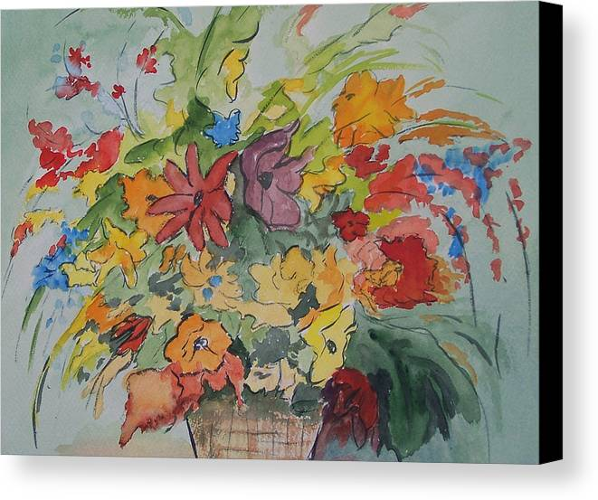 Watercolor Canvas Print featuring the painting Pams Flowers by Robert Thomaston
