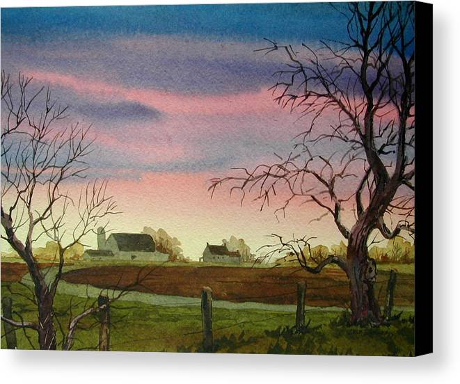 Amish Farm Canvas Print featuring the painting Peaceful Evening by Faye Ziegler