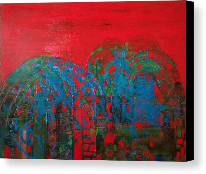 Landscape Canvas Print featuring the print Red Nights by Meltem Quinlan