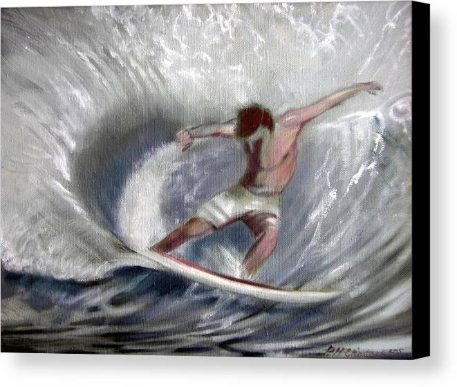 Surfing Canvas Print featuring the painting Surf'sup by Patrick McClintock