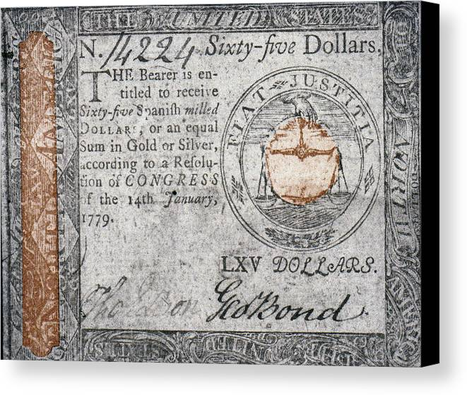 1779 Canvas Print featuring the photograph Continental Currency, 1779 by Granger