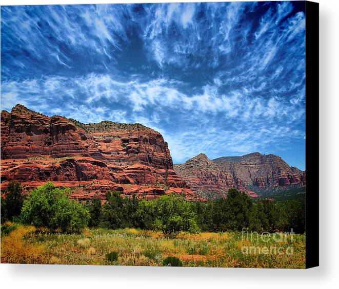Arid Climate Canvas Print featuring the photograph Courthouse Butte Sedona Arizona by Amy Cicconi