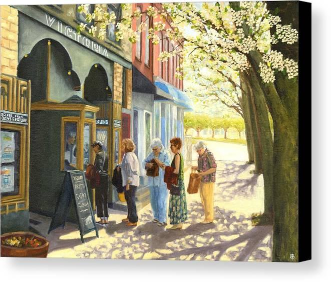 Blossburg Cinema Canvas Print featuring the painting Spring Screening by Bibi Snelderwaard Brion