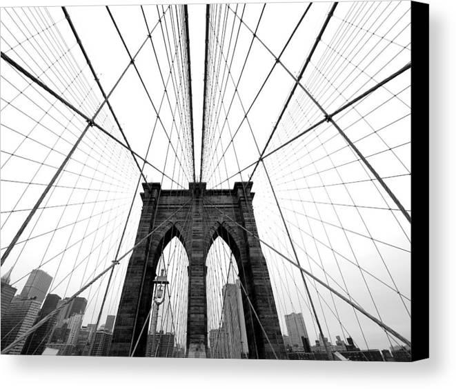 Ny Canvas Print featuring the photograph Nyc Brooklyn Bridge by Nina Papiorek