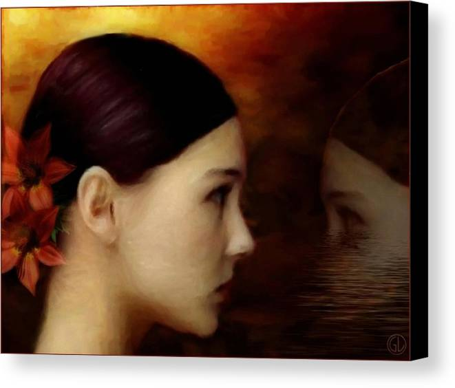 Woman Canvas Print featuring the digital art A Glimpse Inside by Gun Legler