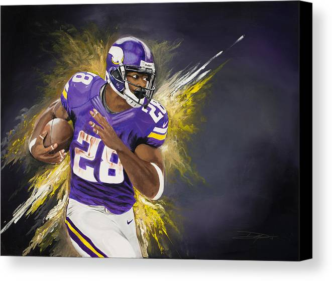 Ap Canvas Print featuring the painting Adrian Peterson by Don Medina