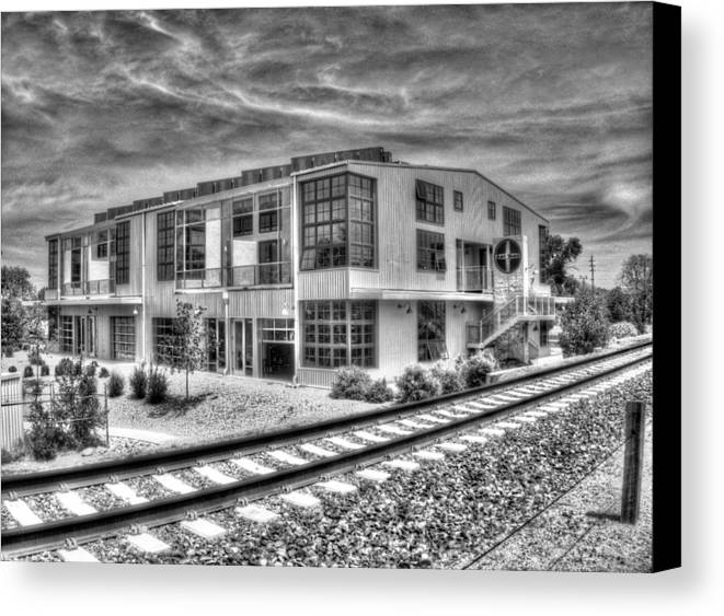 Building Canvas Print featuring the photograph Artyardbw by Tom Winfield