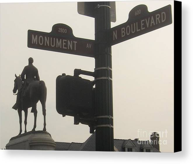 Virginia Canvas Print featuring the photograph at Monument and Boulevard by Nancy Dole McGuigan