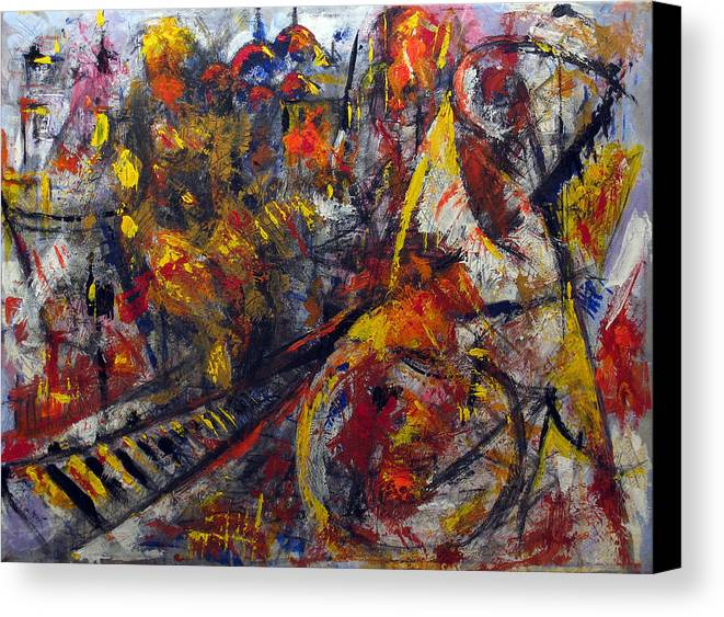 Abstract Canvas Print featuring the painting Back In Time by Vladimir Kezerashvili