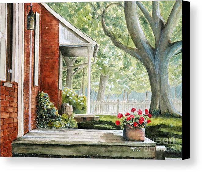 Landscape Canvas Print featuring the painting Back Porch Geraniums by John W Walker