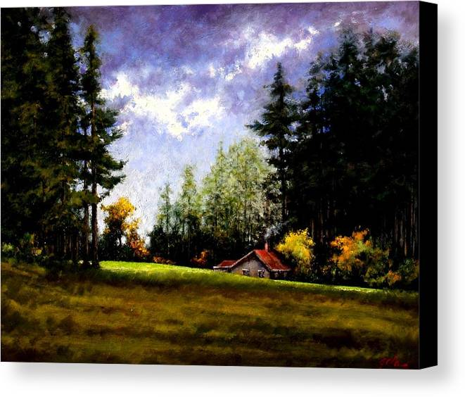 Landscape Canvas Print featuring the painting Battle Ground Park by Jim Gola