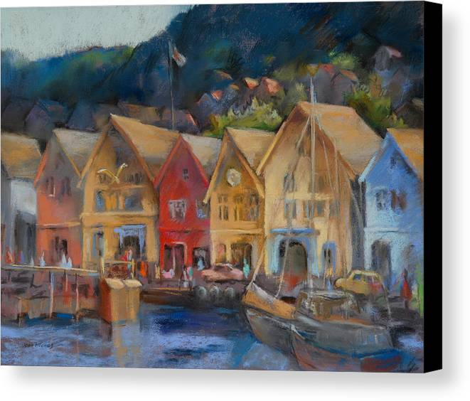 Bergen Norway Canvas Print featuring the painting Bergen Bryggen In The Early Morning by Joan Jones
