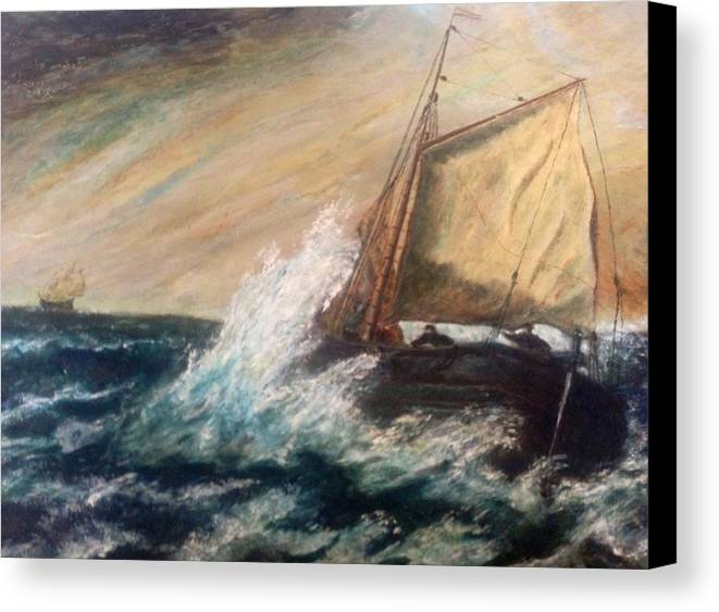 Boat Canvas Print featuring the painting Berts Boat by Judith Desrosiers
