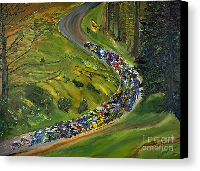 Lance Armstrong Canvas Print featuring the painting Bike Race Belgium Arden Spring Classics by Gregory Allen Page