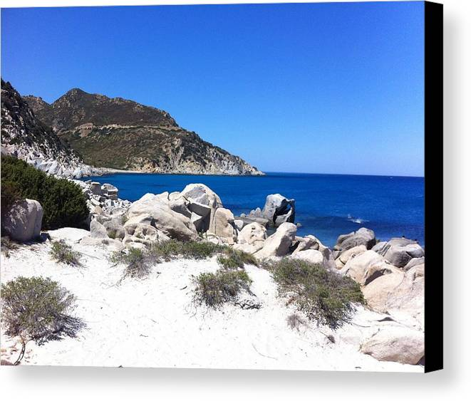 Europe Canvas Print featuring the photograph Blue Ocean Rocky Beach by Inge Madsen